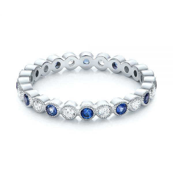 18k White Gold Diamond And Blue Sapphire Stackable Eternity Band - Flat View -  101894