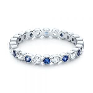 Diamond and Blue Sapphire Stackable Eternity Band