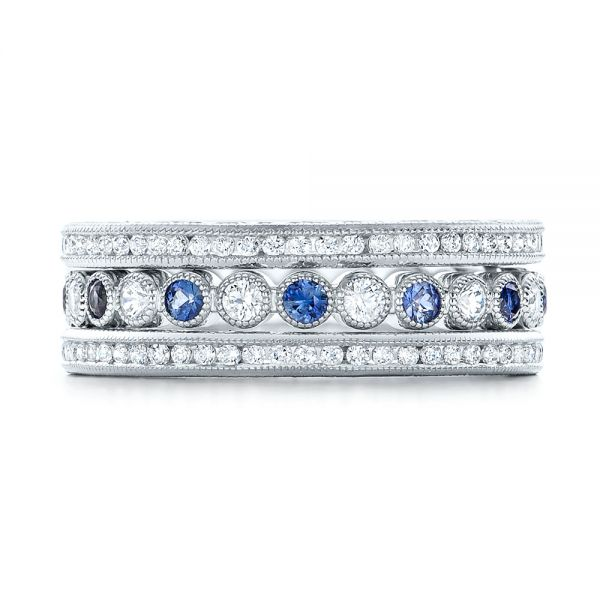 18k White Gold Diamond And Blue Sapphire Stackable Eternity Band - Front View -  101894