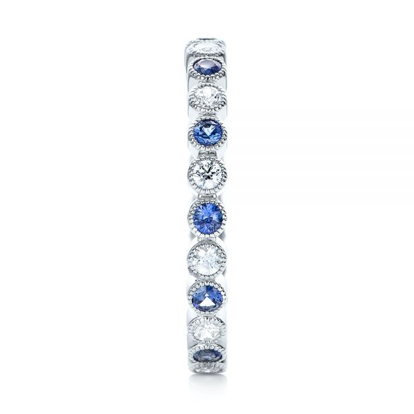 18k White Gold Diamond And Blue Sapphire Stackable Eternity Band - Side View -  101894