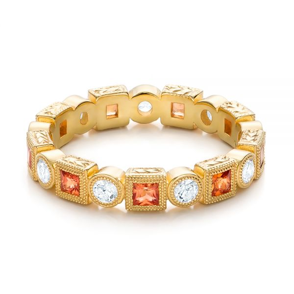 18k Yellow Gold Diamond And Orange Sapphire Stackable Eternity Band - Flat View -