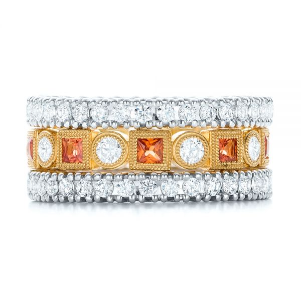 18k Yellow Gold Diamond And Orange Sapphire Stackable Eternity Band - Front View -
