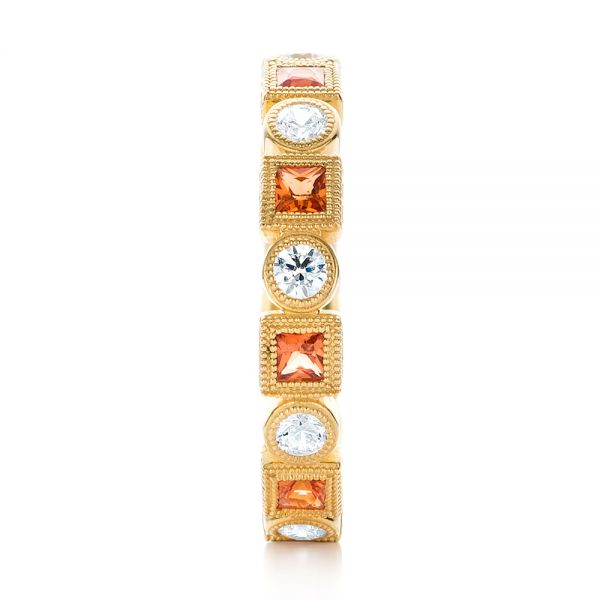 18k Yellow Gold Diamond And Orange Sapphire Stackable Eternity Band - Side View -