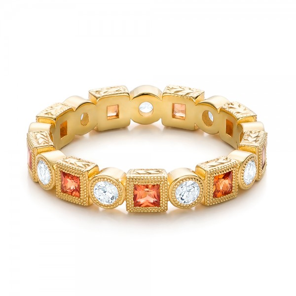 Diamond and Orange Sapphire Stackable Eternity Band