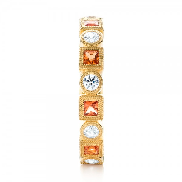 Diamond and Orange Sapphire Stackable Eternity Band - Side View