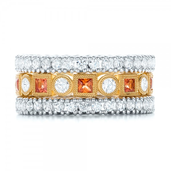 Diamond and Orange Sapphire Stackable Eternity Band - Top View