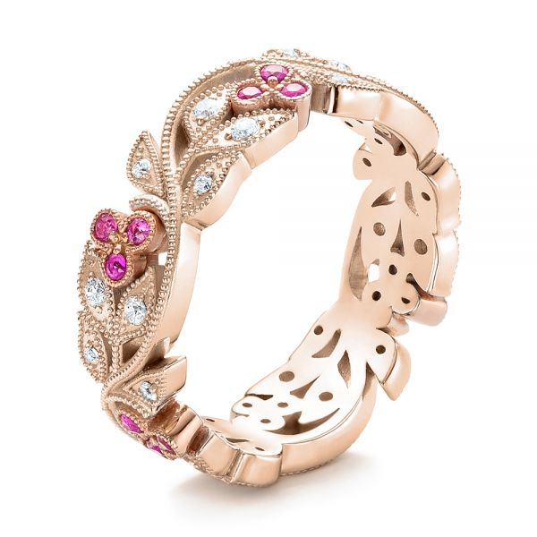 Diamond and Pink Sapphire Organic Stackable Eternity Band - Image