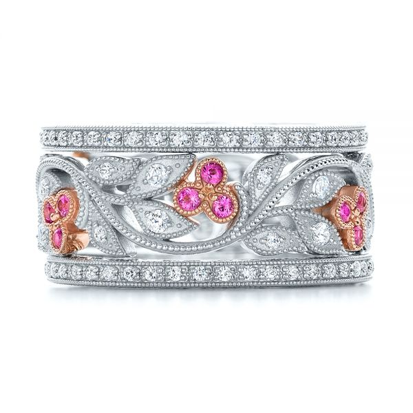 18k White Gold And 18K Gold Diamond And Pink Sapphire Organic Stackable Eternity Band - Front View -