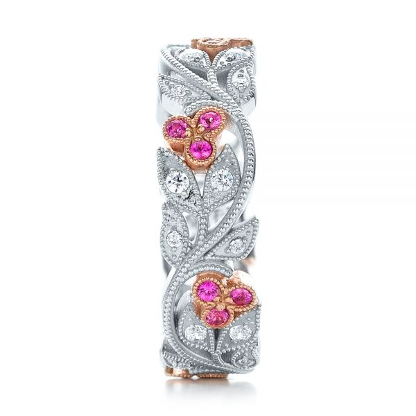 18k White Gold And 18K Gold Diamond And Pink Sapphire Organic Stackable Eternity Band - Side View -