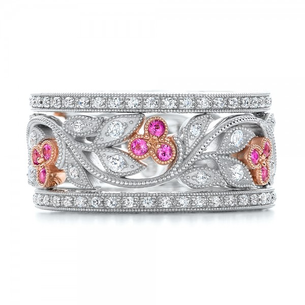 Diamond and Pink Sapphire Organic Stackable Eternity Band - Top View -  101919 - Thumbnail