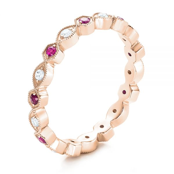 Diamond and Pink Sapphire Stackable Eternity Band