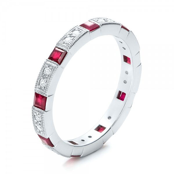 Diamond and Ruby Stackable Eternity Band