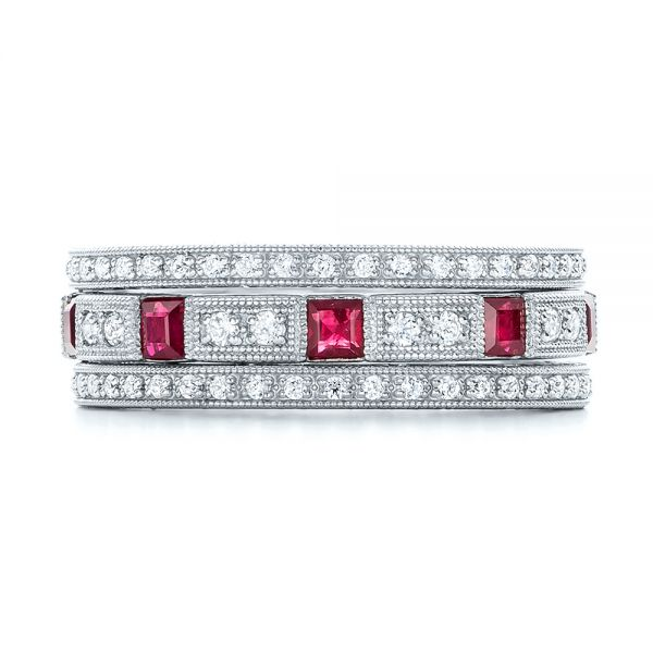 18k White Gold Diamond And Ruby Stackable Eternity Band - Front View -  101915