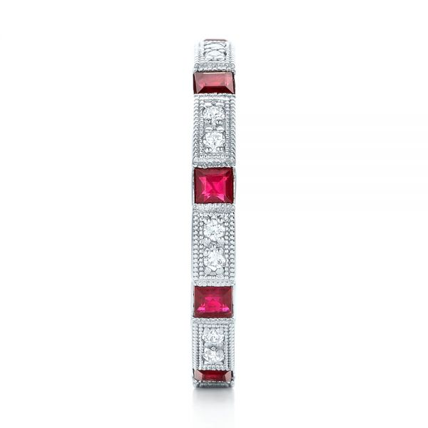 18k White Gold Diamond And Ruby Stackable Eternity Band - Side View -  101915