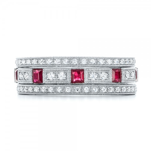 Diamond and Ruby Stackable Eternity Band - Top View -  101915 - Thumbnail