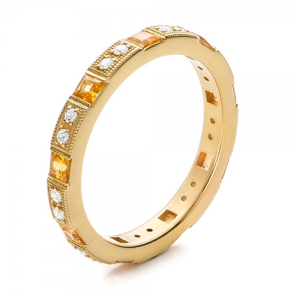 Diamond and Yellow Sapphire Stackable Eternity Band - Three-Quarter View -  101896 - Thumbnail