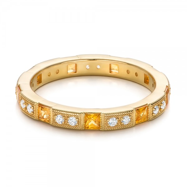 Diamond and Yellow Sapphire Stackable Eternity Band - Flat View -  101896 - Thumbnail
