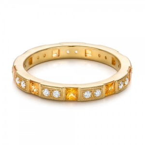 Diamond and Yellow Sapphire Stackable Eternity Band