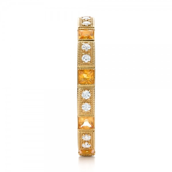 Diamond and Yellow Sapphire Stackable Eternity Band - Side View -  101896 - Thumbnail