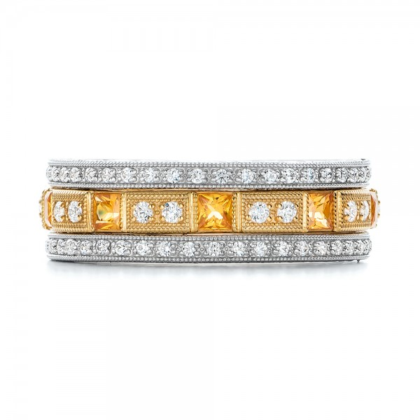 Diamond and Yellow Sapphire Stackable Eternity Band - Top View -  101896 - Thumbnail