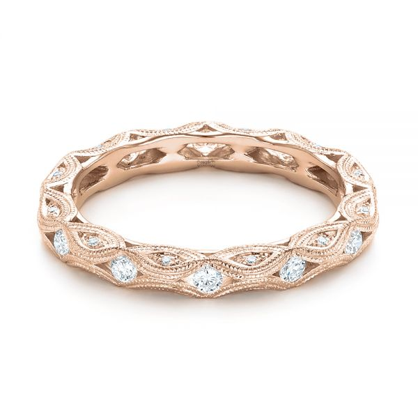 18k Rose Gold 18k Rose Gold Diamond In Filigree Wedding Band - Flat View -  102787