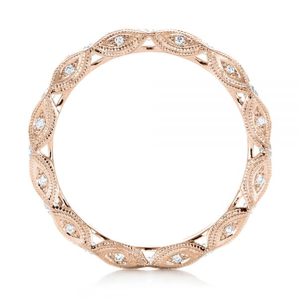 18k Rose Gold 18k Rose Gold Diamond In Filigree Wedding Band - Front View -  102787