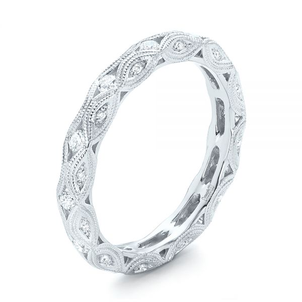 Platinum Platinum Diamond In Filigree Wedding Band - Three-Quarter View -