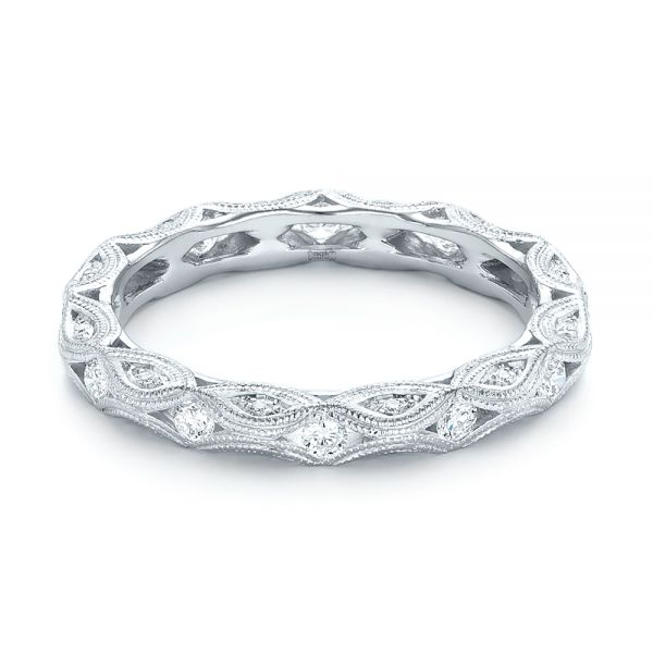 Platinum Platinum Diamond In Filigree Wedding Band - Flat View -