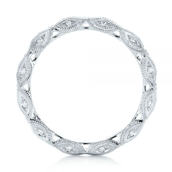 Platinum Platinum Diamond In Filigree Wedding Band - Front View -