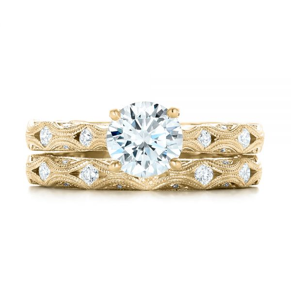 14k Yellow Gold 14k Yellow Gold Diamond In Filigree Wedding Band - Top View -