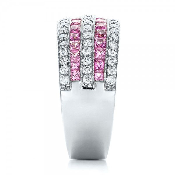 Pink Sapphire and Diamond Anniversary Band - Side View