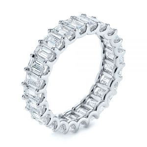 Emerald Cut Diamond Eternity Wedding Band - Image
