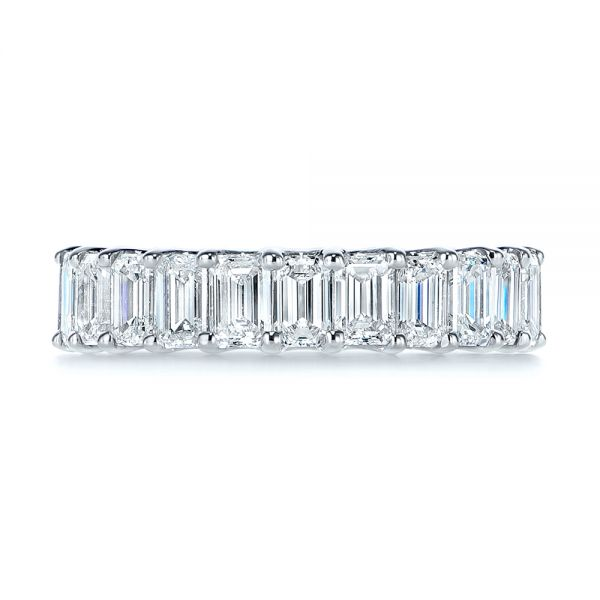 14K Gold 14K Gold Emerald Cut Diamond Eternity Wedding Band - Top View -  105313