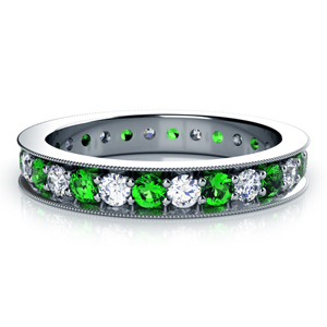 Emerald and Diamond Women's Anniversary Band