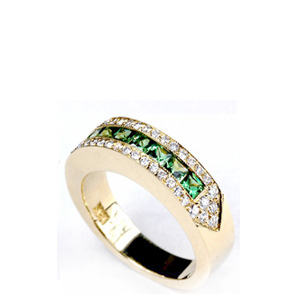 Emerald and Diamond Women's Wedding Band