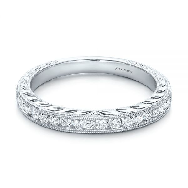 Engraved Wedding Band With Matching Engagement Ring - Kirk Kara - Flat View -