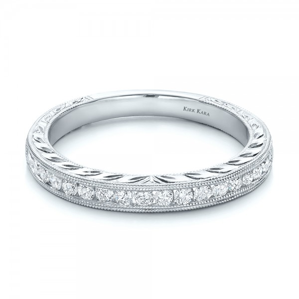 Engraved Wedding Band with Matching Engagement Ring - Kirk Kara