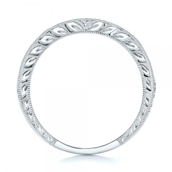 Engraved Wedding Band with Matching Engagement Ring - Kirk Kara - Finger Through View