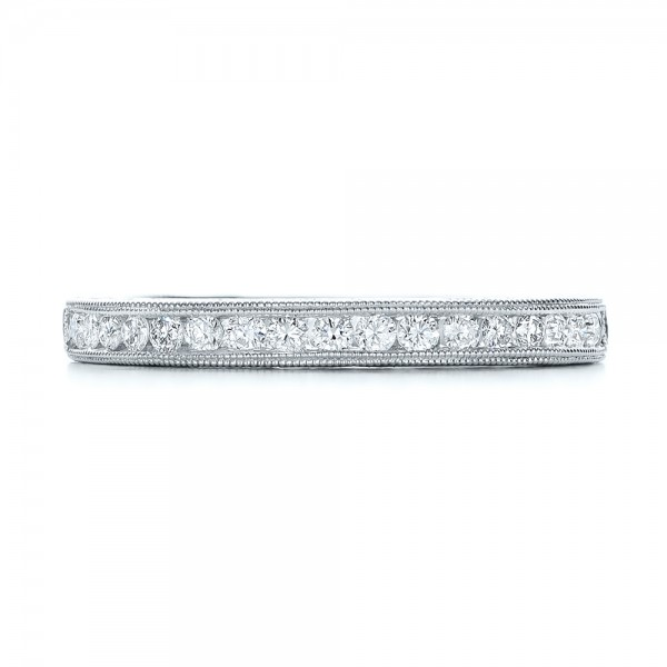 Engraved Wedding Band with Matching Engagement Ring - Kirk Kara - Top View
