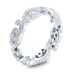 Filigree and Diamond Eternity Wedding Band - Kirk Kara - Image
