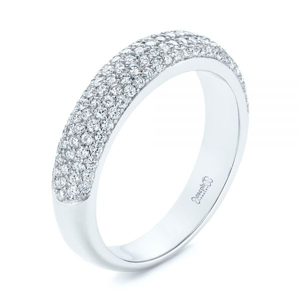14k White Gold Five Row Pave Diamond Wedding Band - Three-Quarter View -  105296