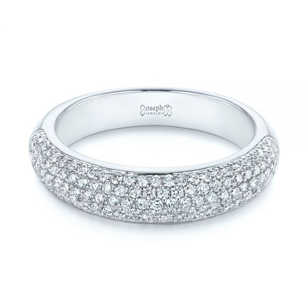 14k White Gold Five Row Pave Diamond Wedding Band - Flat View -  105296