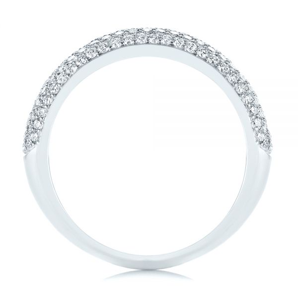 14k White Gold Five Row Pave Diamond Wedding Band - Front View -  105296