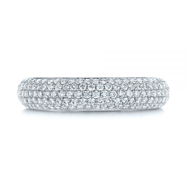 14k White Gold Five Row Pave Diamond Wedding Band - Top View -  105296