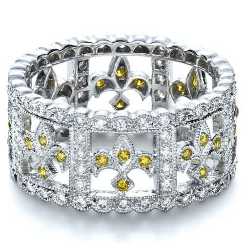 Fleur-de-Lis Yellow and White Diamond Women's Anniversary Band