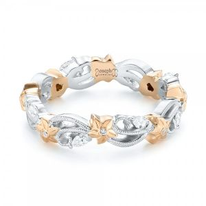 Floral Filigree and Diamond Eternity Wedding Band