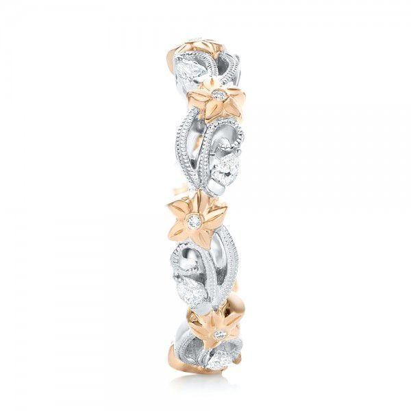 Floral Filigree and Diamond Eternity Wedding Band - Side View -  102865 - Thumbnail