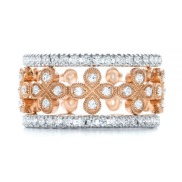 18k Rose Gold Flower Diamond Stackable Eternity Band - Front View -