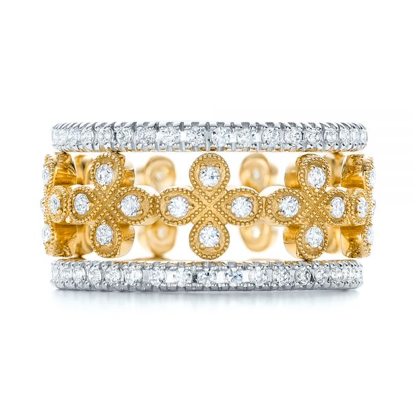 18k Yellow Gold 18k Yellow Gold Flower Diamond Stackable Eternity Band - Front View -