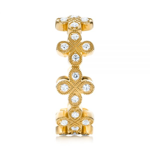 18k Yellow Gold 18k Yellow Gold Flower Diamond Stackable Eternity Band - Side View -